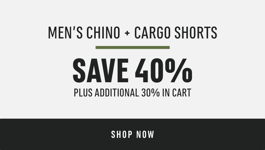 Men's Chino & Cargo Shorts: Save 40% (plus additional 30% in cart)
