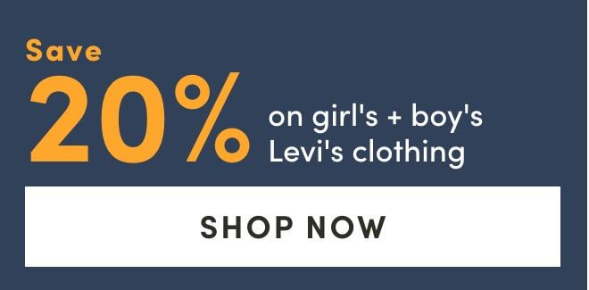 Save 20% on girl's & boy's Levi's clothing