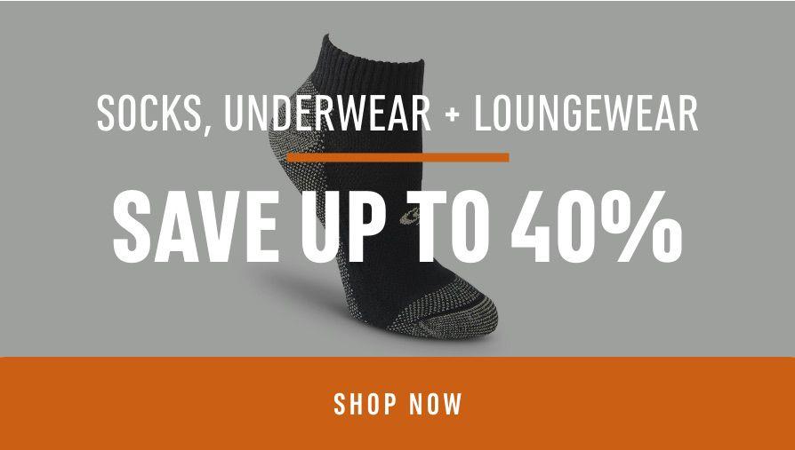 Socks, Underwear, & Loungewear: Save up to 40%