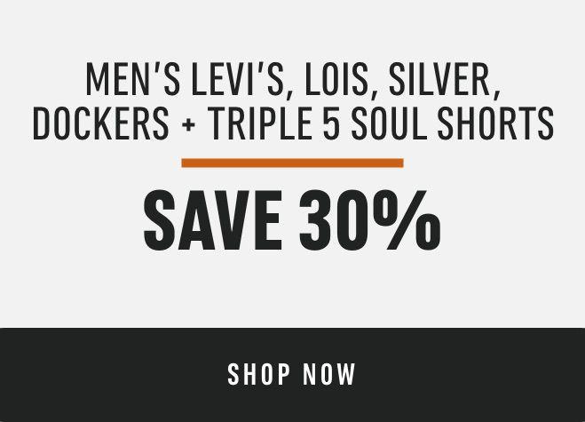 Men's Levi's, Lois, Silver, Dockers and Triple 5 Soul Shorts: Save 30%