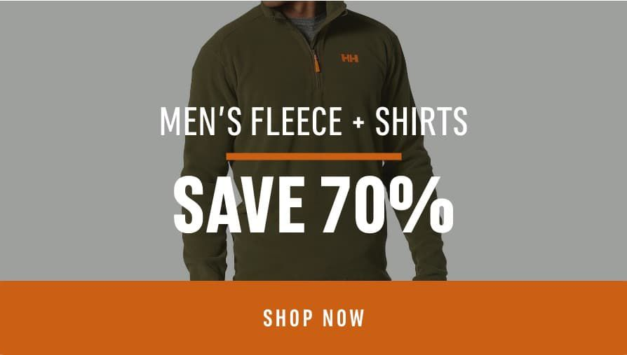 Men's Fleece & Shirts: Save 70%