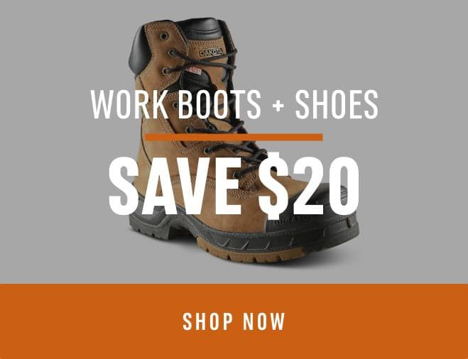 Work Boots & Shoes: Save $20