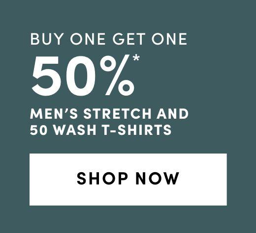 Men's Stretch and 50 Wash T-Shirts - Bogo 50%