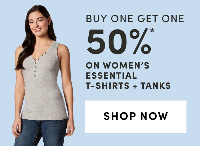 Women's Essential T-Shirts + Tanks: Buy One Get One 50% Off*