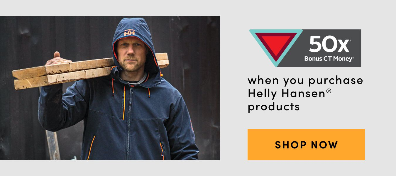 50X Bonus CT Money when you purchase Helly Hansen Products. Shop Now
