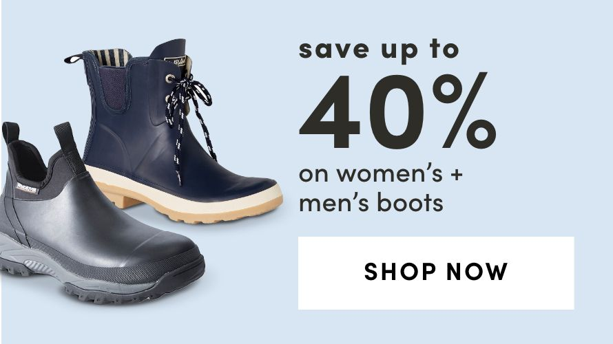Save Up To 40% on Women's + Men's Boots